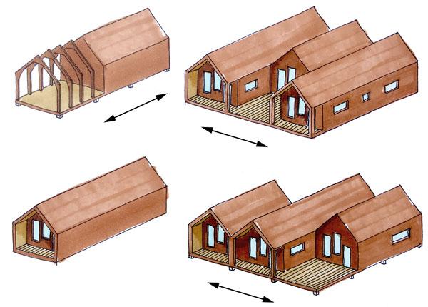 Schéma de modularité d'une maison modulable
