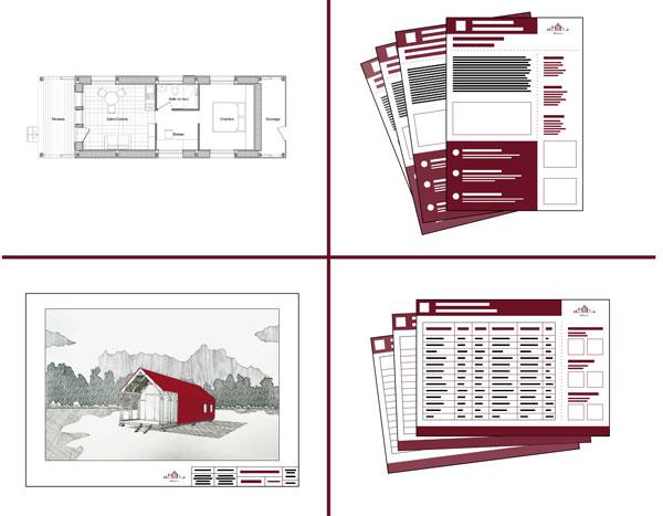 Les quatre éléments constituant le tutoriel pour construire une maison