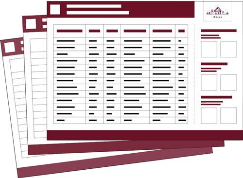Représentation de la liste des matériaux pour construire une maison